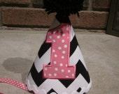 FIRST BIRTHDAY Black and White Chevron Birthday Hat