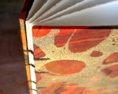 CUSTOM SIZE Guest Book - Orange Gold Brown Marble -  30 to 70 unlined TORN pages