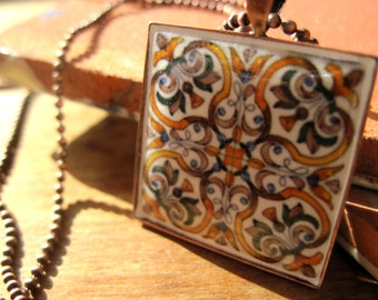 Whimsical jewelry, Portuguese ceramic tile pattern pendant, Ethnic jewelry, Spanish, Copper necklace, Yellow Mustard Gold jewelry