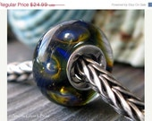 Lampwork glass sterling silver core bead.  Cobalt and sea green with floating bubbles. AGB Love Sweet Love. Ready to s