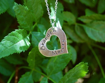 Hand Stamped Sterling Silver Heart Washer Necklace