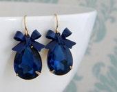 Royal Blue Enamel Bow Rhinestone Pear Earrings