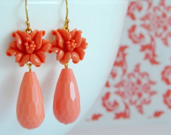 Vintage Coral Lily Deco Earrings