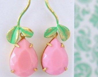 Verdi Gris Vintage Pink Glass Pear Leaf Twig Drop Earrings