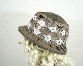 Summer hat, womens hat, linen and lace hat, cotton hat, lace hat, hats for women, sun hat