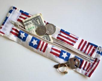 Secret Stash Kids Money Cuff - ....Stars and Stripes-  hide your cash,key,health info  in a secret zipper