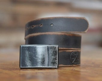 Black Recession Belt Buckle & Leather Belt by Fosterweld