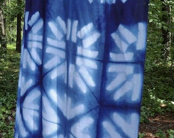 Rayon voile scarf in shibori and indigo
