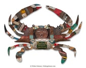Blue Crab Metal Sculpture for Wall