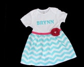 Boutique PERSONALIZED DRESS.. in teal aqua chevron and hot pink accents... your childs name...girls clothing