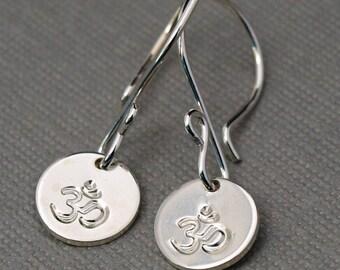 Ohm Jewelry , Yoga Jewelry , Sterling Silver Ohm Earrings , Silver Dangle Earrings , Aum Symbol