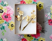 Gold Flower Bobby Pin Set of Two, gold flowers, wedding accessories, bridesmaids gift, gift for her