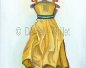 Yellow Doll Dress on Hanger - OOAK Original Oil Painting