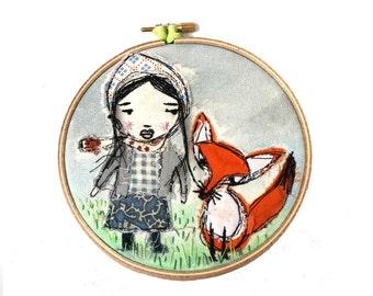 Hoop Art,  Girl and Fox