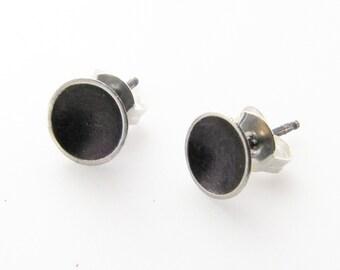 Saucer Studs - Post Earrings in Dark Sterling Silver - Minimalist Stud Earrings Handmade by Queens Metal