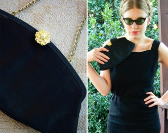 Black Satin 1950's 60's Vintage Handbag Clutch Purse with Gold Pearl Rhinestone Clasp and Chain