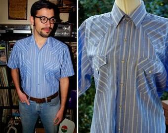 AUSTIN 1970's 80's Vintage Light Blue Striped Western Cowboy Shirt with Pearl Snaps // size Medium