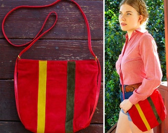 Gran TORINO 70's 80's Vintage Red Suede Leather Shoulder Purse with Green and Yellow Racing Stripes