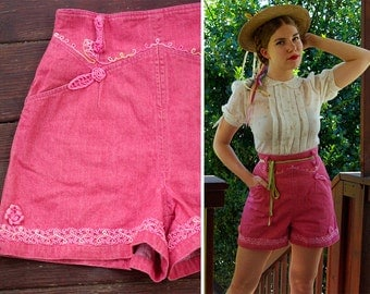 ROSIE 1980's does 40's Vintage Pink Ultra High Waist Cotton Jean Shorts with Crochet Appliques // by IACOCCA // size Medium // So Cute!