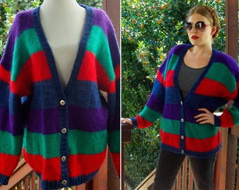 RGB Color 1980's 90's Vintage Oversized Red Blue Green Striped MOHAIR Cardigan Sweater // size Large