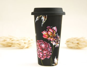 Black Ceramic Eco-Friendly Travel Mug - Orchids and Wild Flowers - Botanical Collection