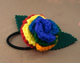 Crocheted Rose Ponytail Holder or Bracelet - Rainbow (SWG-HP-RB01)
