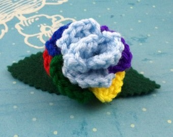 Crocheted Rose Barrette - Light Blue and Rainbow (SWG-HB-MPRD01)
