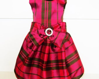 dog dresses holiday: jewel tone plaid taffeta in purple sage black Radiant Orchid