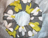 Large Daisy Print Hair Scrunchie, Fabric Hair Tie, Boutique Ponytail Holder, Citron & Slate