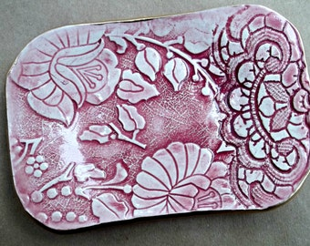 Red Damask Trinket Jewelry Dish Soap Dish
