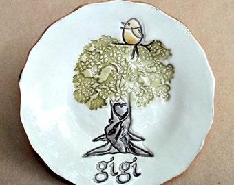 GIGI  with 1 Birdy Ceramic  Trinket Bowl  Mothers day