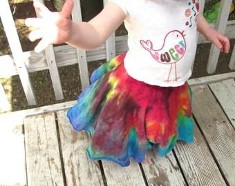 Girls Circle Skirt, Organic Cotton Skirt, Girls Rainbow Skirt, Twirl Skirt, Organic Girls Skirt, Custom Dyed Skirt, MADE TO ORDER