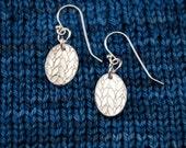 Oval Silver Knit Stitch Earrings
