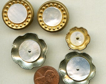 Lot of 5 INTERESTING Shell Mother of Pearl Buttons set in Metal 2 Pair 9423 five bucks