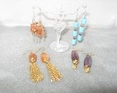 CLEARANCE ITEM !!!  4 pair of hand made dangle earrings, caramel chip, caramel bead, turquoise, purple
