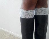 Boot Cuffs - Lace Boot Cuffs  - Faux Lace Boot Socks - Faux Lace Leg Warmers - Lace Boot Topper - Boot Topper