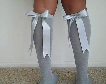 Satin Ribbon Bow Knee Socks - Knee High Socks - Knee Socks - Grey Knee High Socks - Gray Womens Knee Socks -