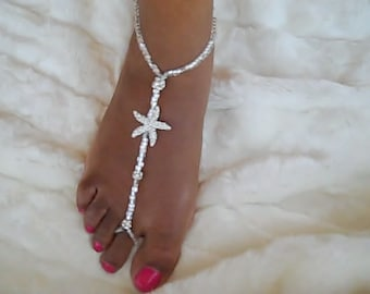Bridal Starfish Foot Jewelry Wedding Starfish Barefoot Sandal Anklet Wedding Foot Thong Barefoot Wedding Sandals Beach Wedding Barefoot