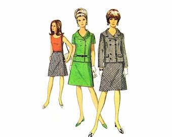 1960s Womens Blouse Jacket Skirt Suit Simplicity 6986 Vintage Sewing Pattern Misses Size 12 Bust 32