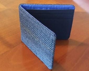 Mens wool wallet, Dark Blue Herringbone, Petroleum Blue Lining, Standard size bifold, 7 Pocket Billfold