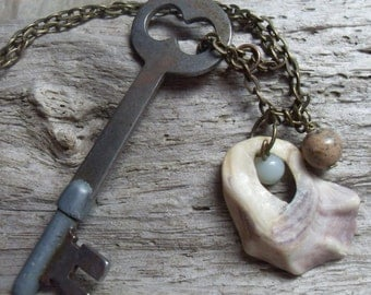 Authentic Antique Skeleton Key, Found Shell, Amazonite and Brass Chain Necklace