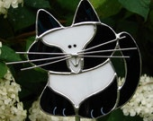 Adorable Tuxedo Cat Stained Glass Garden Stake