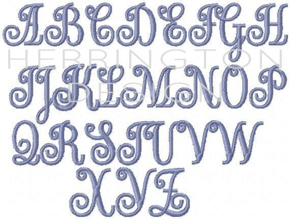 "3/4"" and 1"" inch Vine Interlocking Embroidery Font Scroll ..."