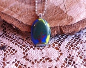 Handpainted Enamel Tree On Blue and Yellow Fused Glass Pendant