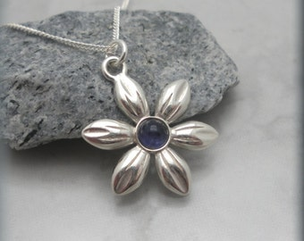 Iolite Flower Necklace, Daisy Jewelry, Gemstone Necklace, Sterling Silver, Birthday Gift, Purple, Summer Jewelry (SN793)