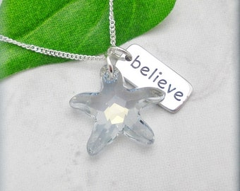 Crystal Starfish Necklace, Believe Graduation Gift, Inspirational Quote Necklace, Beach Summer Jewelry Sterling Silver, Easter Gift SN745