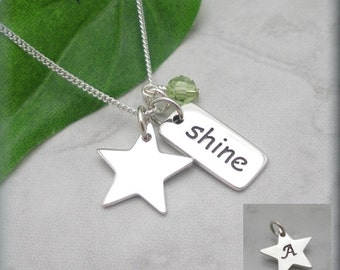 Inspirational Quote Necklace Star Shine Graduation Necklace Friendship Gift Necklace Personalized Sterling Silver Birthstone Jewelry (SN733)