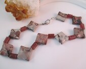 Chohua Jasper - Chinese Painting Stone - and Sunstone Anklet Plus Size; mauve orchid silver browns neutrals matte finish