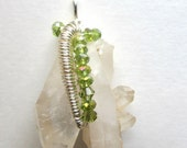 Natural Quartz Crystal Cluster Wire Wrapped Pendant  P11