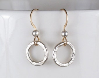Tiny Silver Circle Earrings Hammered Gold Ear Wire Silver Ball Mixed Metals DJStrang Circle of Life Boho Chic